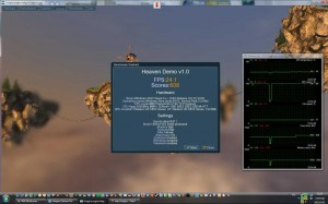 Unigine Heaven 850Mhz-es GPU órajelen