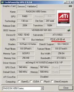PCIe-s X850XT tulajdonságai
