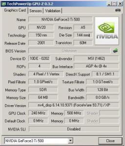 Geforce 3 TI500 GPU-Z