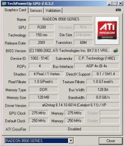 Radeon 8500 GPU-Z