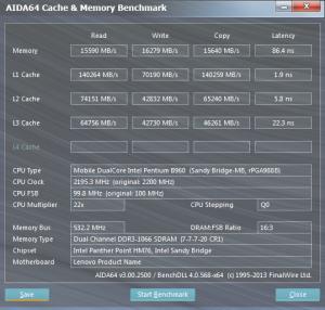 Pentium B960-as eredmények